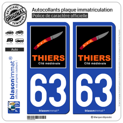 2 Autocollants plaque immatriculation Auto 63 Thiers - Tourisme