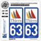 2 Autocollants plaque immatriculation Auto 63 Thiers - Ville