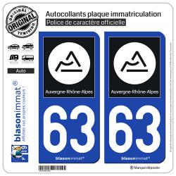 2 Autocollants plaque immatriculation Auto 63 Auvergne-Rhône-Alpes - Région II