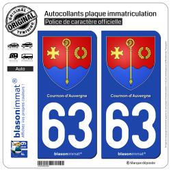2 Autocollants plaque immatriculation Auto 63 Cournon-d'Auvergne - Armoiries