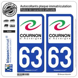 2 Autocollants plaque immatriculation Auto 63 Cournon-d'Auvergne - Ville