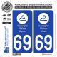2 Autocollants plaque immatriculation Auto 69 Auvergne-Rhône-Alpes - LogoType