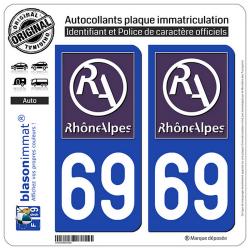 2 Autocollants plaque immatriculation Auto 69 Rhône-Alpes - LogoType II