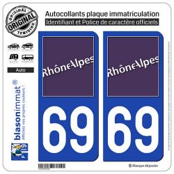 2 Autocollants plaque immatriculation Auto 69 Rhône-Alpes - LogoType