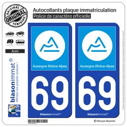 2 Autocollants plaque immatriculation Auto 69 Auvergne-Rhône-Alpes - Région