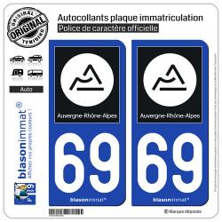 2 Autocollants plaque immatriculation Auto 69 Auvergne-Rhône-Alpes - Région II