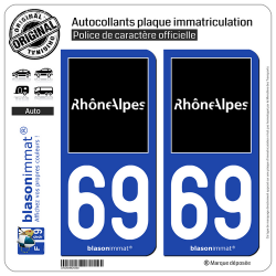2 Autocollants plaque immatriculation Auto 69 Rhône-Alpes - Tourisme