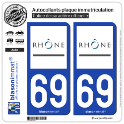 2 Autocollants plaque immatriculation Auto 69 Rhône - Département