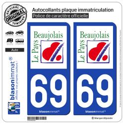 2 Autocollants plaque immatriculation Auto 69 Beaujolais - Pays