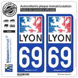 2 Autocollants plaque immatriculation Auto 69 Lyon - Ville