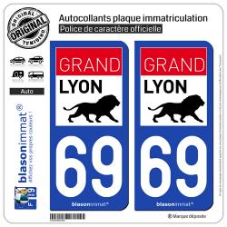 2 Autocollants plaque immatriculation Auto 69 Lyon - Agglo
