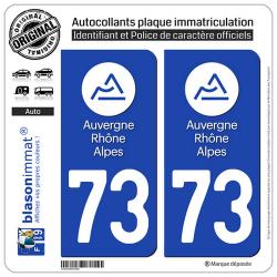2 Autocollants plaque immatriculation Auto 73 Auvergne-Rhône-Alpes - LogoType