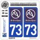 2 Autocollants plaque immatriculation Auto 73 Rhône-Alpes - LogoType II