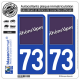 2 Autocollants plaque immatriculation Auto 73 Rhône-Alpes - LogoType
