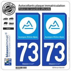 2 Autocollants plaque immatriculation Auto 73 Auvergne-Rhône-Alpes - Région