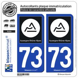 2 Autocollants plaque immatriculation Auto 73 Auvergne-Rhône-Alpes - Région II
