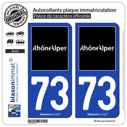 2 Autocollants plaque immatriculation Auto 73 Rhône-Alpes - Tourisme