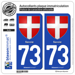 2 Autocollants plaque immatriculation Auto 73 Savoie - Armoiries