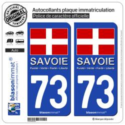 2 Autocollants plaque immatriculation Auto 73 Savoie - Drapeau