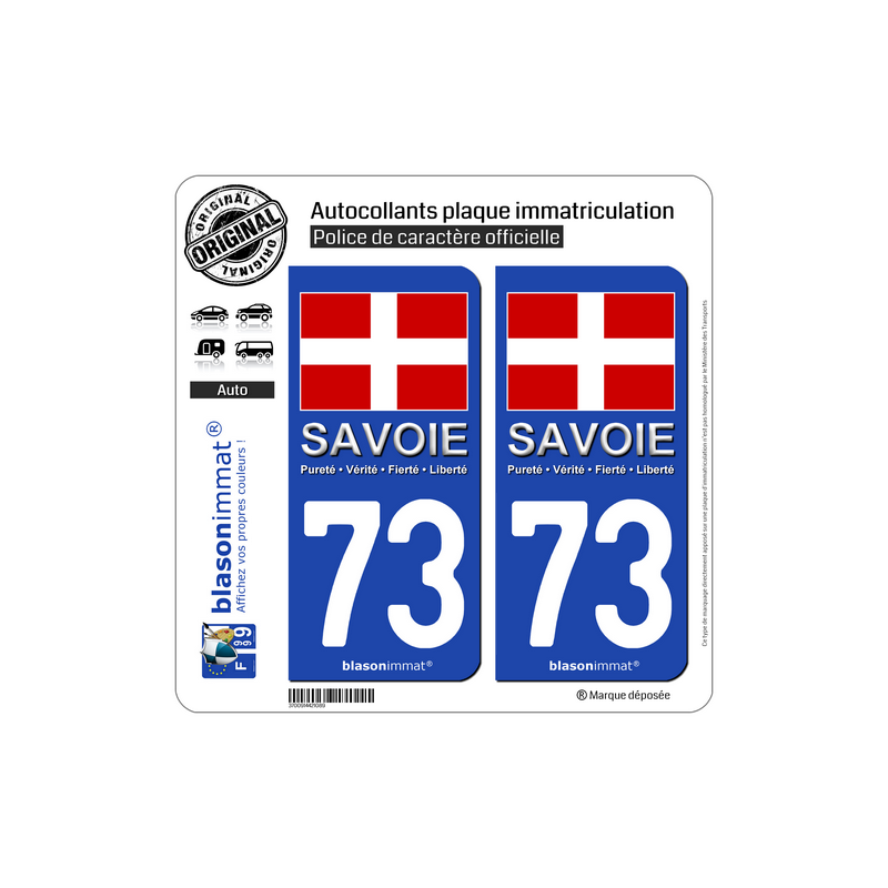 autocollant plaque immatriculation 73 savoie drapeau. Black Bedroom Furniture Sets. Home Design Ideas