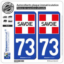 2 Autocollants plaque immatriculation Auto 73 Savoie - Département