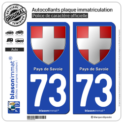 2 Autocollants plaque immatriculation Auto 73 Pays de Savoie - Armoiries