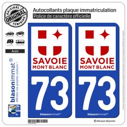 2 Autocollants plaque immatriculation Auto 73 Savoie - Tourisme