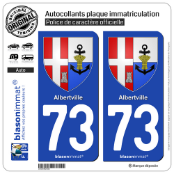 2 Autocollants plaque immatriculation Auto 73 Albertville - Armoiries