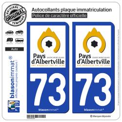 2 Autocollants plaque immatriculation Auto 73 Albertville - Pays