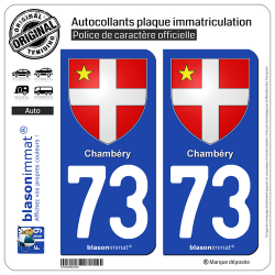 2 Autocollants plaque immatriculation Auto 73 Chambéry - Armoiries