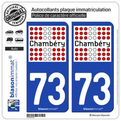2 Autocollants plaque immatriculation Auto 73 Chambéry - Ville