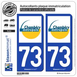 2 Autocollants plaque immatriculation Auto 73 Chambéry - Métropole