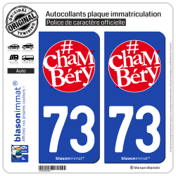 2 Autocollants plaque immatriculation Auto 73 Chambéry - Tourisme