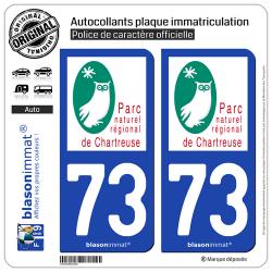 2 Autocollants plaque immatriculation Auto 73 Chartreuse - Parc Naturel Régional