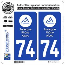 2 Autocollants plaque immatriculation Auto 74 Auvergne-Rhône-Alpes - LogoType