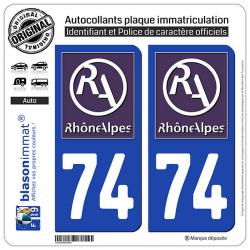 2 Autocollants plaque immatriculation Auto 74 Rhône-Alpes - LogoType II