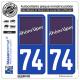 2 Autocollants plaque immatriculation Auto 74 Rhône-Alpes - LogoType