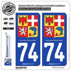 2 Autocollants plaque immatriculation Auto 74 Auvergne-Rhône-Alpes - Armoiries