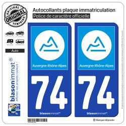 2 Autocollants plaque immatriculation Auto 74 Auvergne-Rhône-Alpes - Région