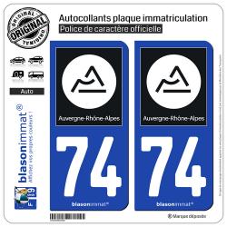 2 Autocollants plaque immatriculation Auto 74 Auvergne-Rhône-Alpes - Région II