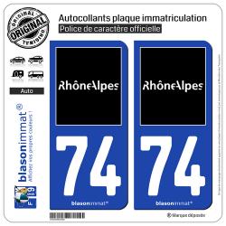 2 Autocollants plaque immatriculation Auto 74 Rhône-Alpes - Tourisme