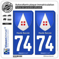 2 Autocollants plaque immatriculation Auto 74 Haute-Savoie - Armoiries