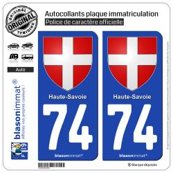 2 Autocollants plaque immatriculation Auto 74 Haute-Savoie - Armoiries II