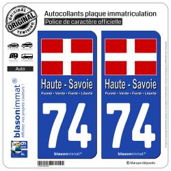 2 Autocollants plaque immatriculation Auto 74 Haute-Savoie - Drapeau