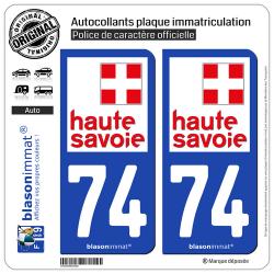 2 Autocollants plaque immatriculation Auto 74 Haute-Savoie - Département