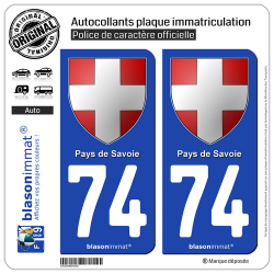 2 Autocollants plaque immatriculation Auto 74 Pays de Savoie - Armoiries