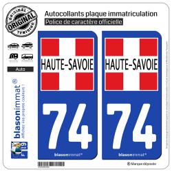 2 Autocollants plaque immatriculation Auto 74 Haute-Savoie - Département II