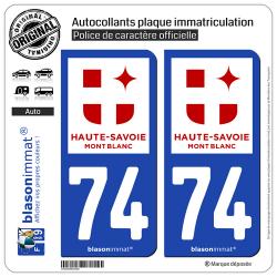 2 Autocollants plaque immatriculation Auto 74 Haute-Savoie - Tourisme