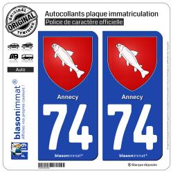 2 Autocollants plaque immatriculation Auto 74 Annecy - Armoiries