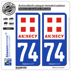 2 Autocollants plaque immatriculation Auto 74 Annecy - Ville